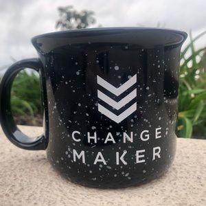 """Other - Large Black Speckled Camping Mug """"change Maker"""""""